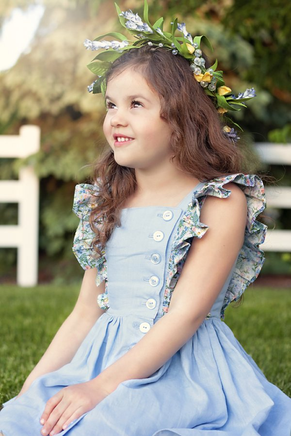 Baker girls dress blue and flowered flutters
