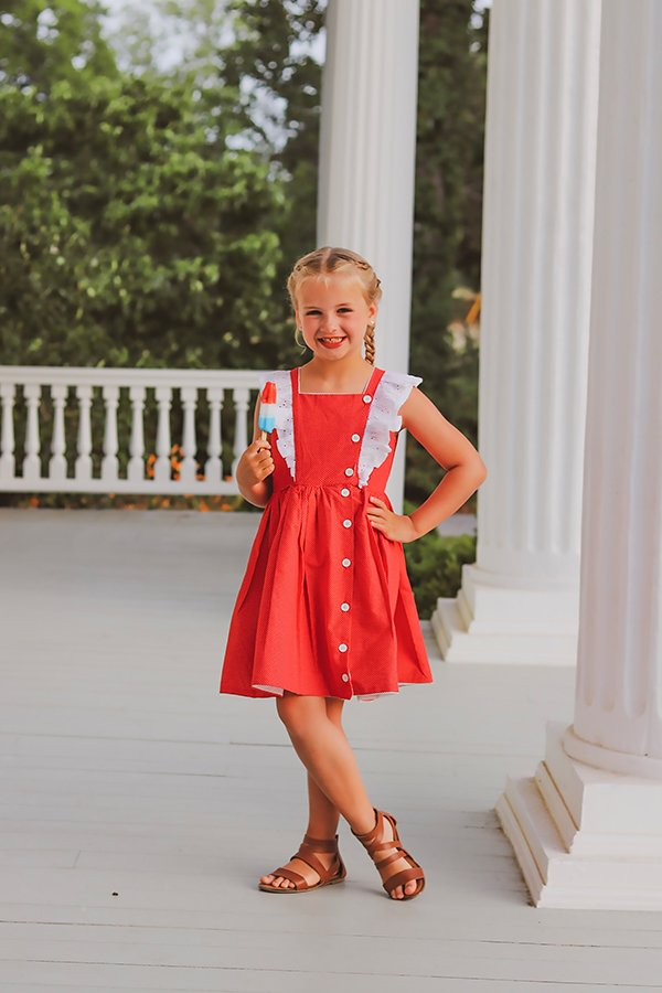 girls Baker knee length dress red and white