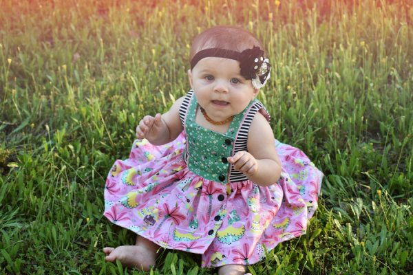 Baker baby mixed prints dress