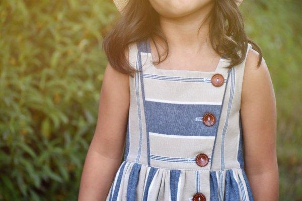 Baker girls dress blue stripes bodice front