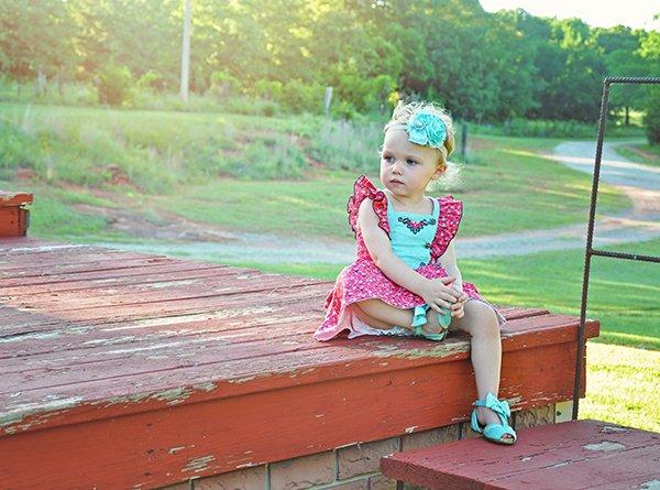 Baker little girls vintage summer dress red calico