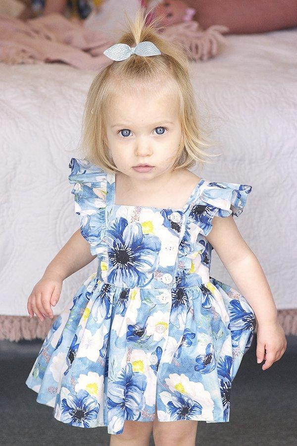 Baker baby dress with blue and white flowers