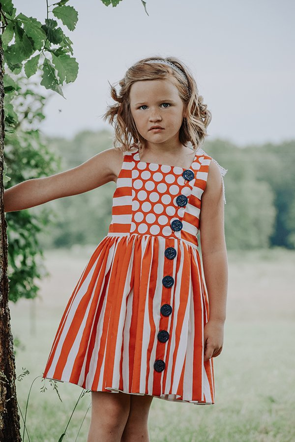 Baker girls summer dress orange stripes