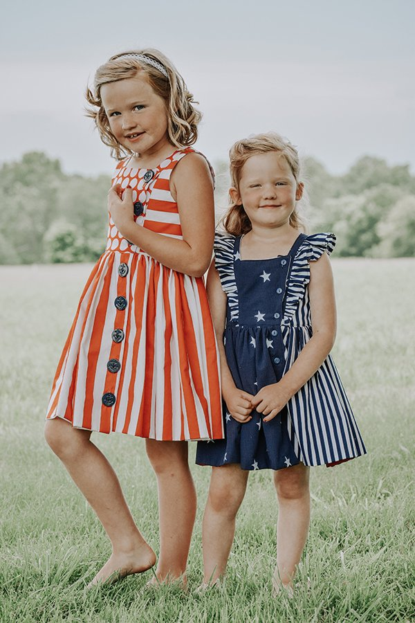Baker girls dresses orange and navy