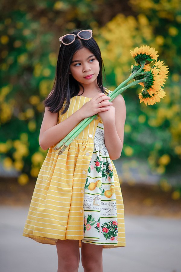 Baker yellow dress with print panel