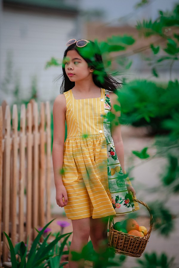 Baker girls dress yellow with print panel