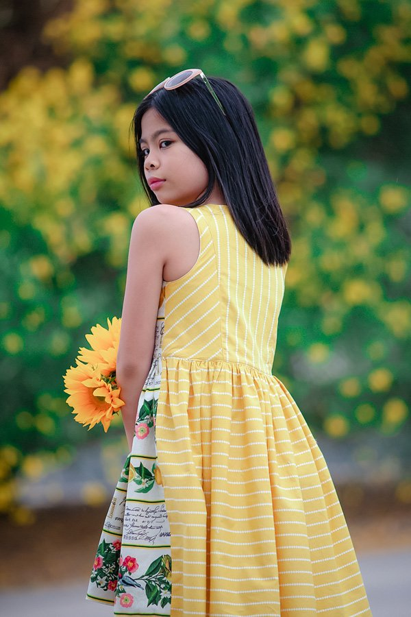 Baker girls dress yellow stripes and print