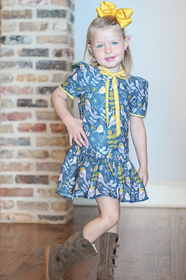 Falleyn girls dress bird print front