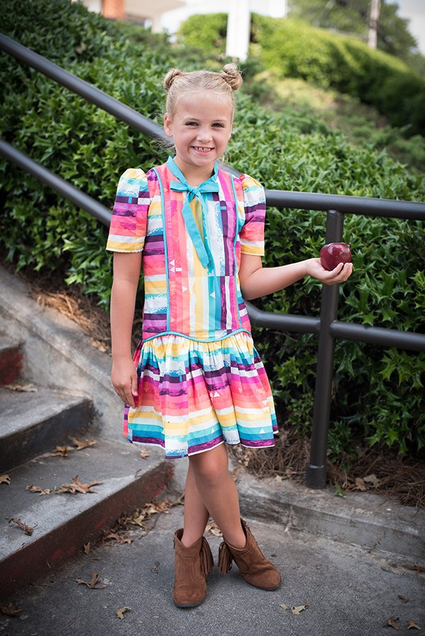 Falleyn girls vintage dress colorful stripes