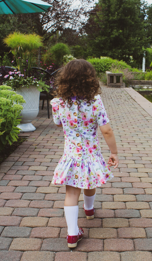 Falleyn flowered childrens dress back
