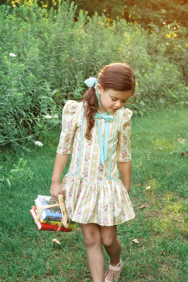 Falleyn back to school calico girls dress