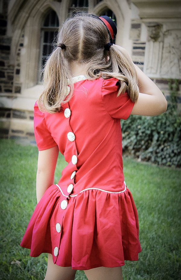 Falleyn red girls dress back closure