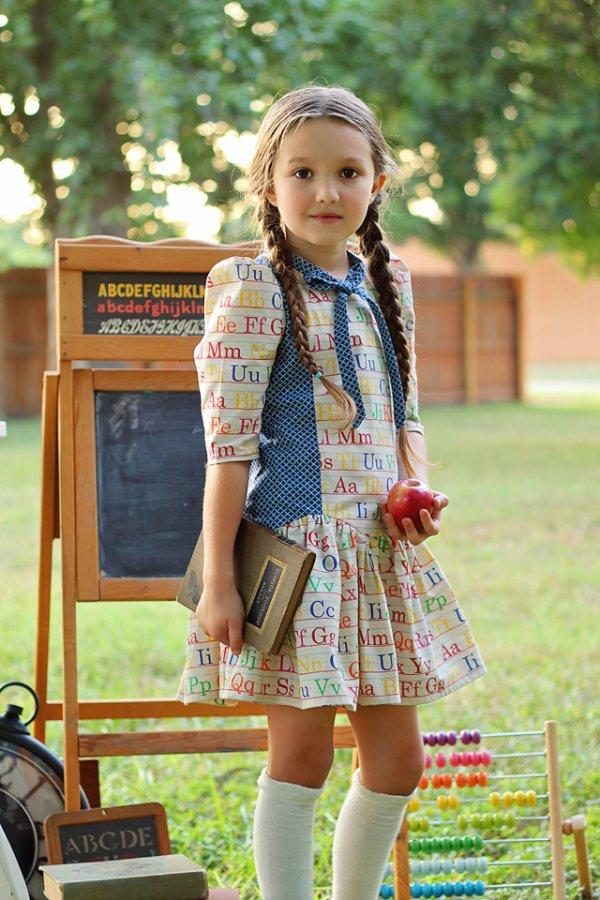 Falleyn alphabet print girls dress