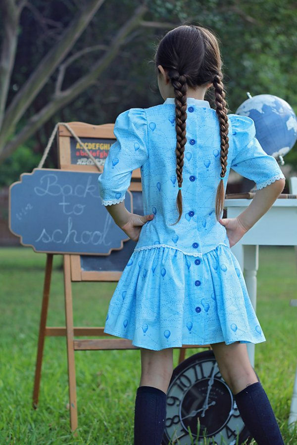 Falleyn back to school girls dress back view