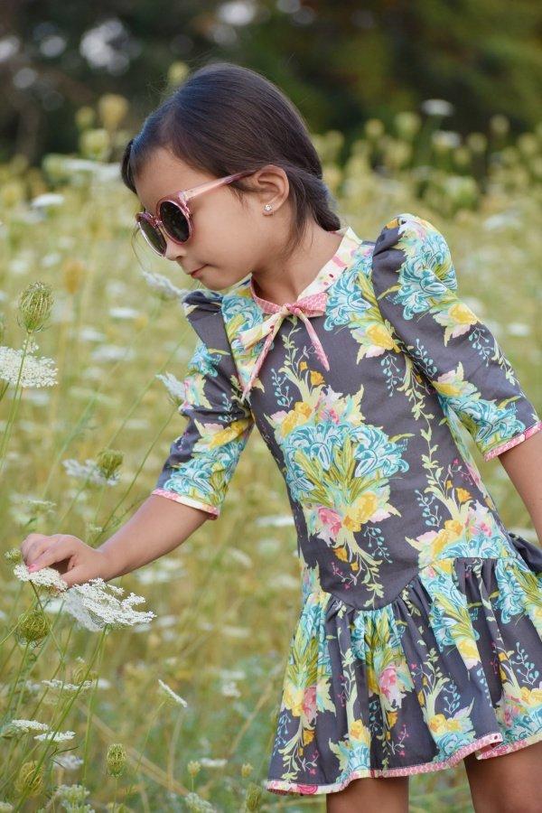 Falleyn vintage girls dress flower print
